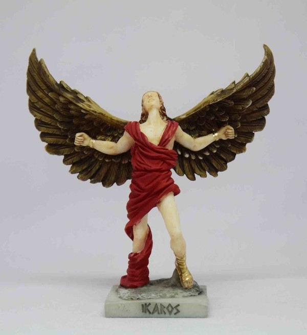 The statue of Icarus with open wings in color