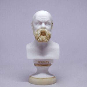 The bust statue of Socrates in Patina color