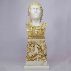 A small monument head statue of Alexander the Great in Patina color