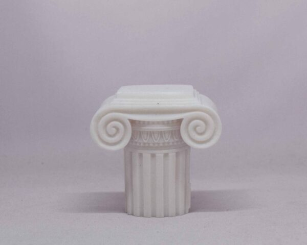 The statue of a Greek half column at Ionic order in White color