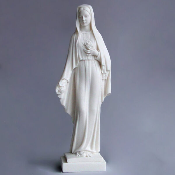 The whole statue of Virgin Mary holding flowers in White color