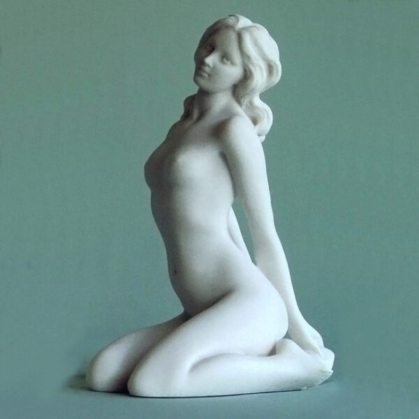 Aphrodite sits on her knees in White color