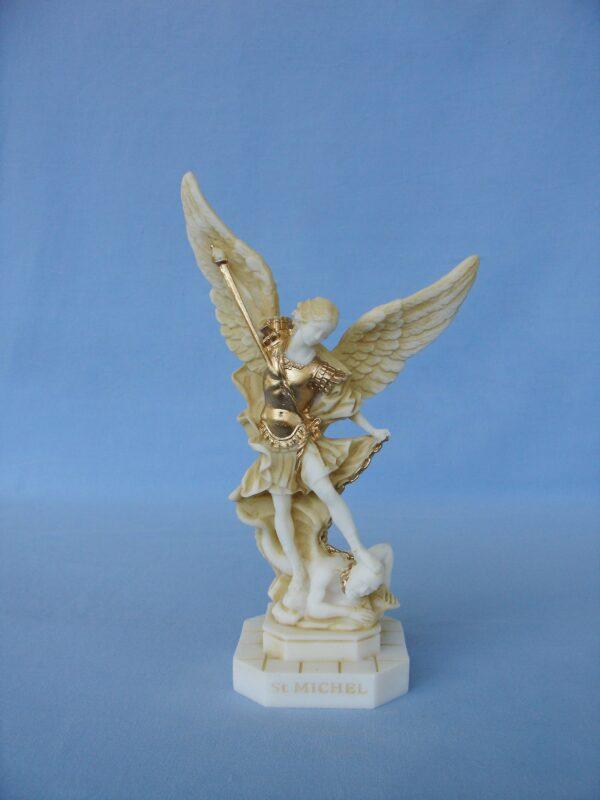 Greek statue of Saint Michael tramples Satan in Patina color