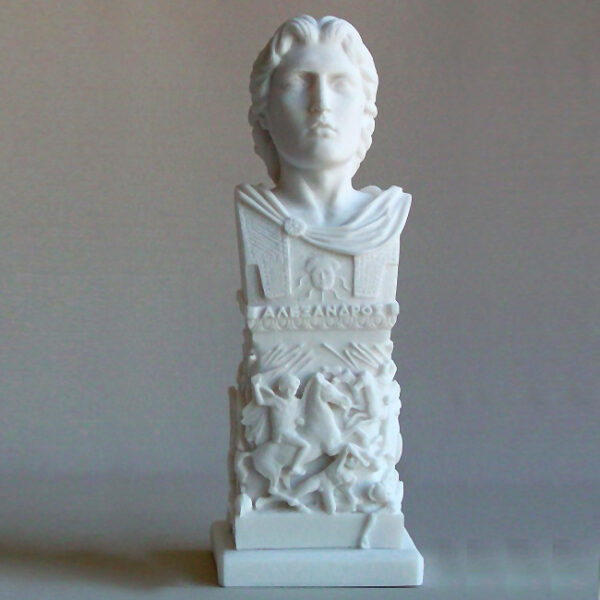 A small monument head statue of Alexander the Great in White color