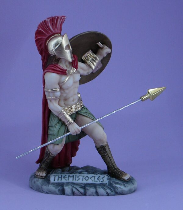 The statue of Themistocles in defense position holding shield and spear in color