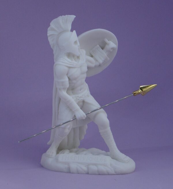 The statue of Themistocles in defense position holding shield and spear in White color
