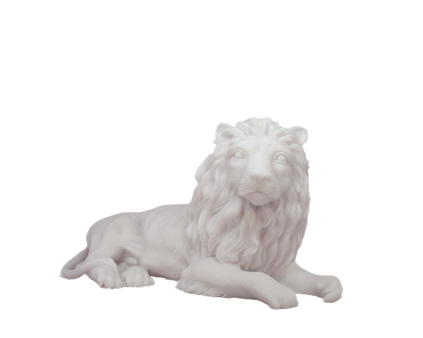 The statue of a male Lion lying down in White color