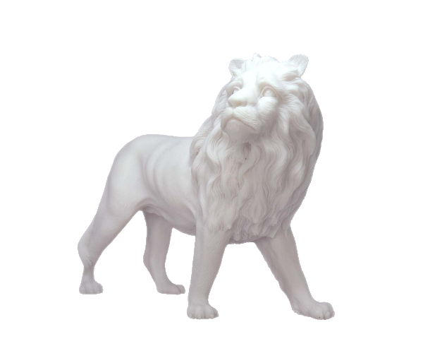 The statue of a male Lion looking high in White color
