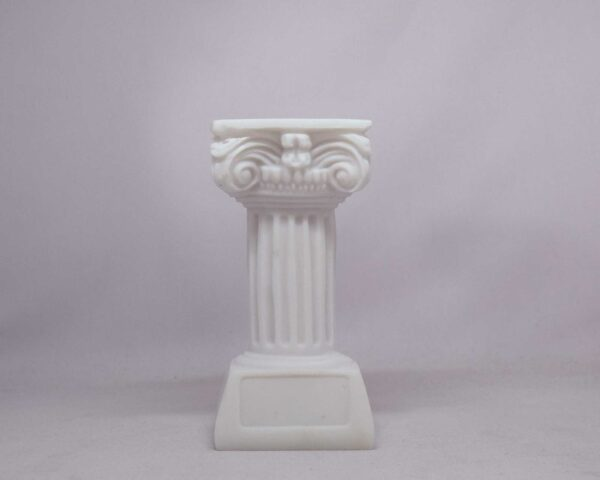 A candle case statue of a Greek full height column at Ionic order in White color