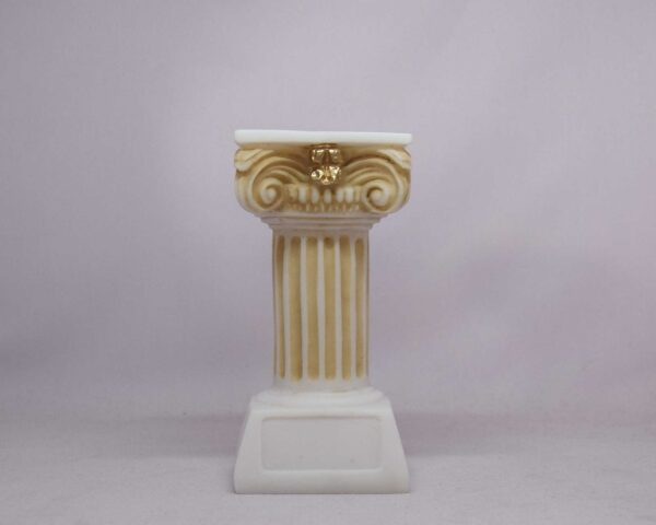 A candle case statue of a Greek full height column at Ionic order in Patina color