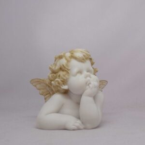 The statue of a little Angel thinking in Patina color