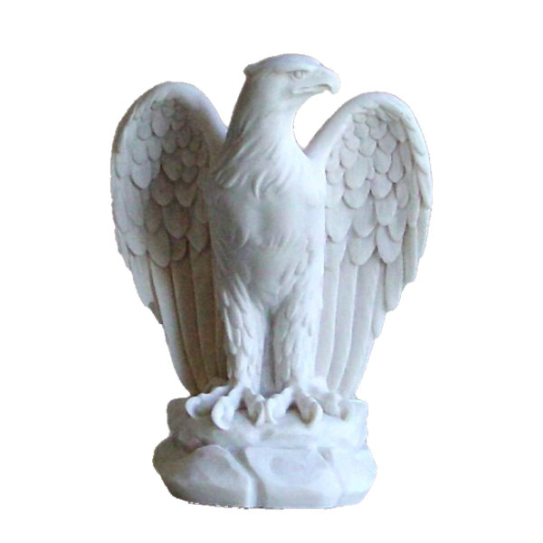 The statue of an Eagle looking at right in White color