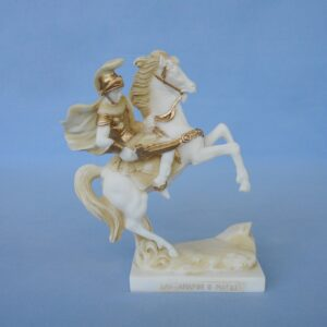 Alexander the great on the horse ready to fight in Patina color