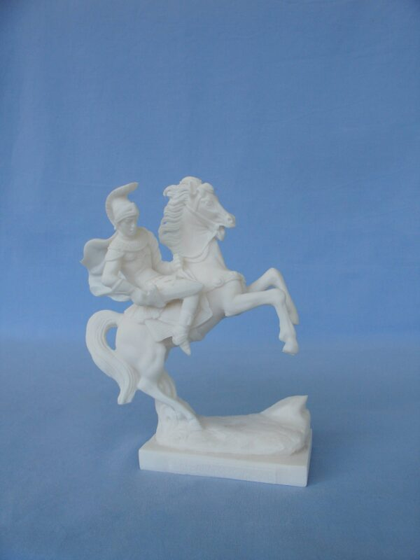 Alexander the great on the horse ready to fight in White color
