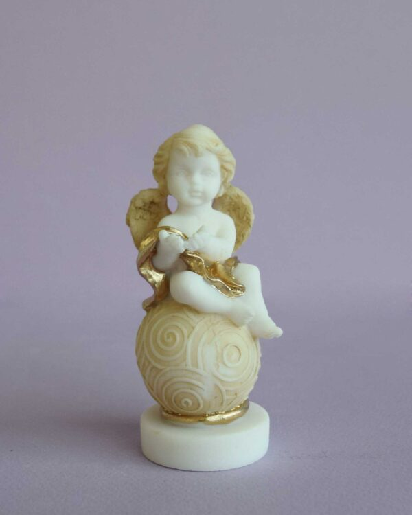 A statue of an Angel sitting on a sphere type 4 in Patina color