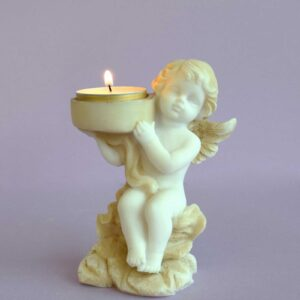 A statue of an Angel holding a candle on his shoulder type 2 in Patina color