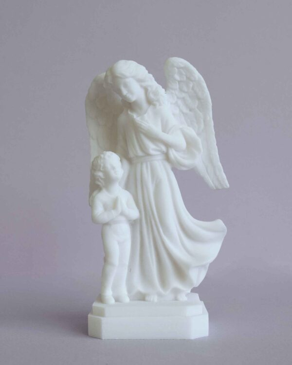 The Guardian Angel with a child praying in White color