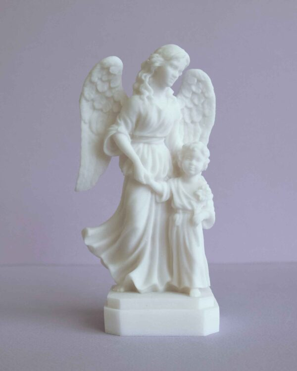 The Guardian Angel with a boy holding a flower in White color