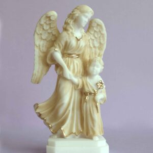 The Guardian Angel with a boy holding a flower in Patina color