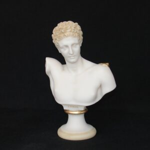 The bust statue of Hermes in Patina color