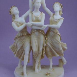 The statue of the Graces crown the third in Patina color