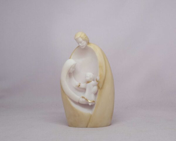The statue of The Holy Family into the hug of father Josef in Patina color