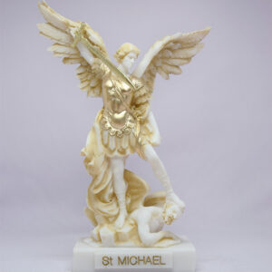 The statue of Saint Michael tramples Satan in Patina color