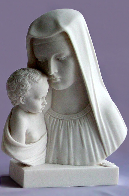 The bust statue of Mary and baby Jesus in White color