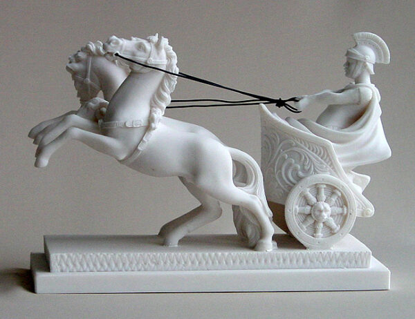 The statue of a Romeo warrior on a two-wheeled carriage carried by 2 horses (Type 3) in White color