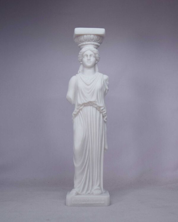 Caryatid statue replica made of Alabaster in White color