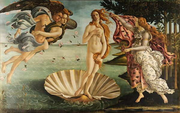 The Birth of Venus painted by Sandro Botticelli