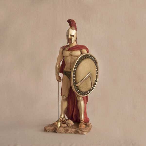 Leonidas with shield and spear pointing down in Color