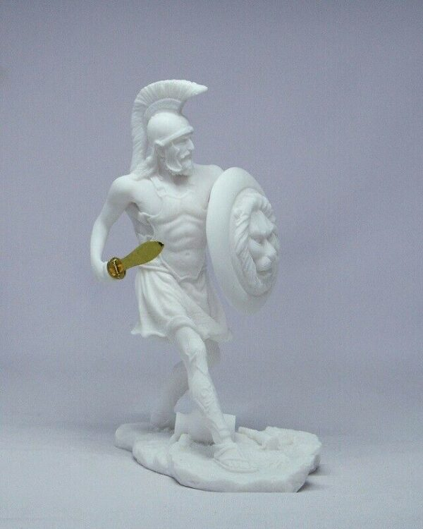 Spartan Warrior in defense in White color