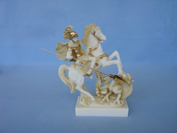The statue of Saint George who slays the dragon in Patina color