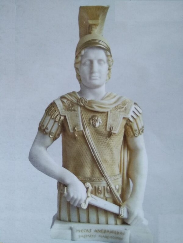 A half statue of Alexander the Great in Patina color