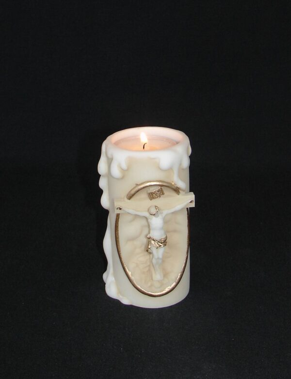 Jesus Crucifixion candle case made of Alabaster in Patina color