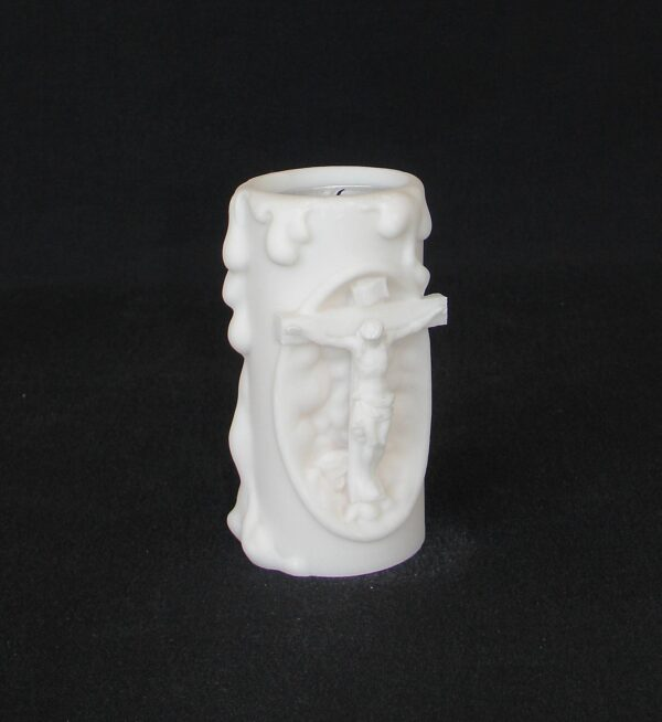 Jesus Crucifixion candle case made of Alabaster in White color