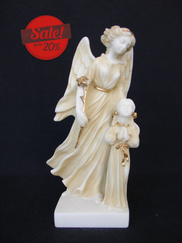 The Guardian Angel with a child praying in Patina color