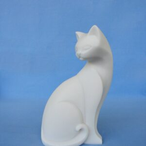 Big cat looking back statue modern style in White color