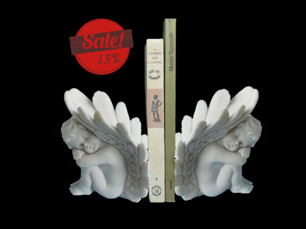 Set statues of Angels used as bookend in White color