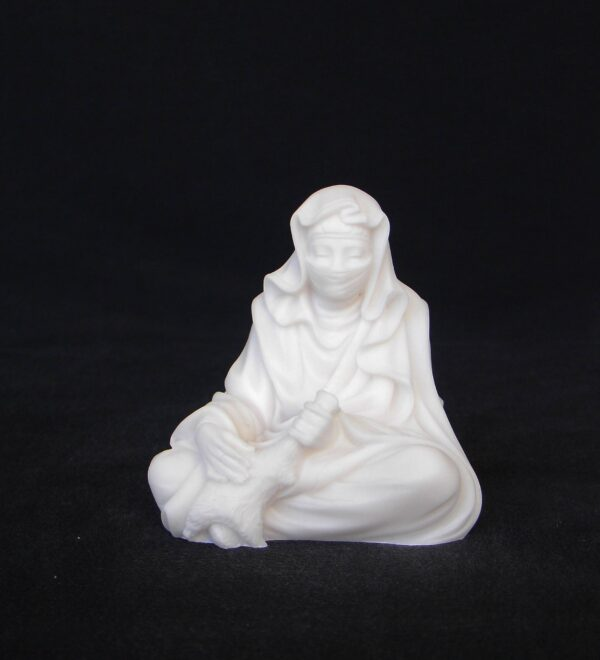 Greek statue of Arab woman sitting down holding bag with water in White color