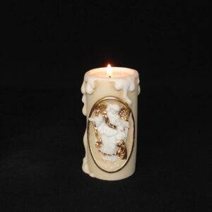 Greek candle case of Guardian Angel made of alabaster in Patina Color