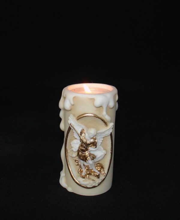 Greek candle case of Saint Michael made of alabaster in Patina color