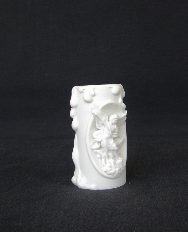 Greek candle case of Saint Michael made of alabaster in White color