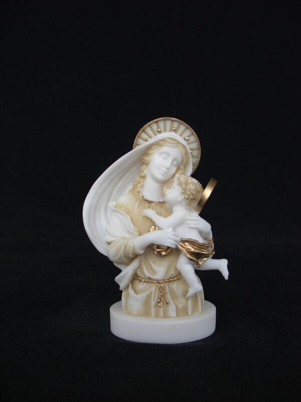 Greek statue of Mary and baby Jesus in Patina color