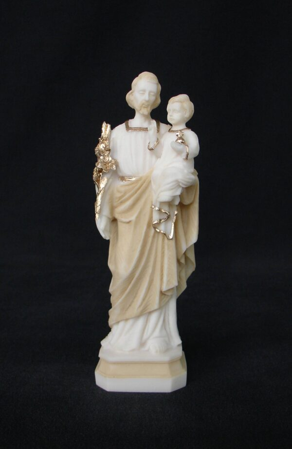 Greek statue of Saint Joseph holding baby Jesus in his hand in Patina color