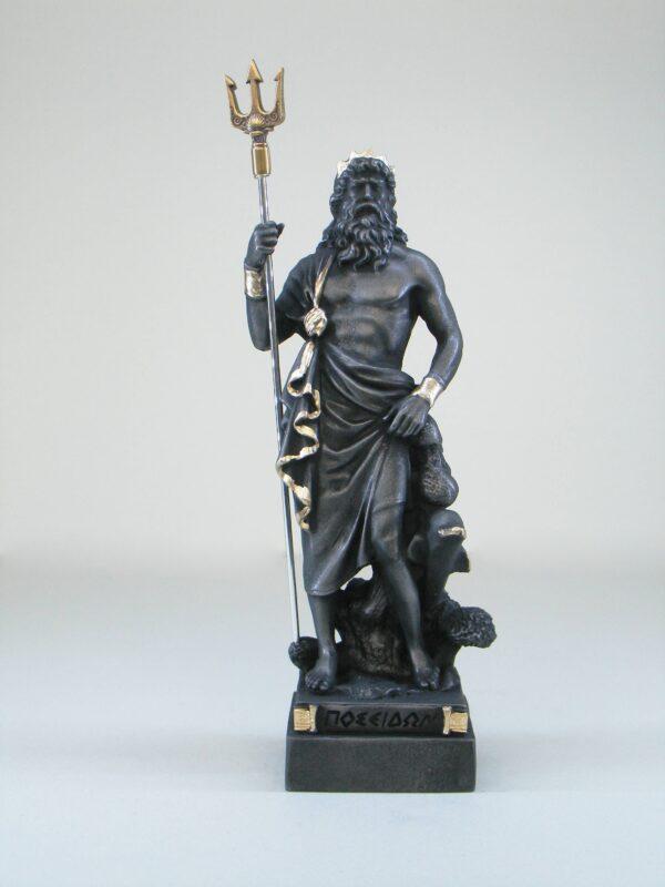 Poseidon statue Greek God made of Alabaster in Patina Black color