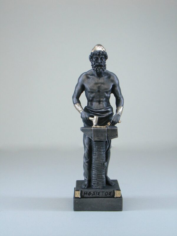 The statue of Hephaestus working on anvil in Patina Black color