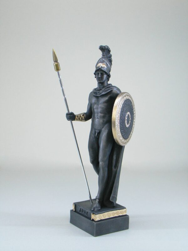 The statue of Ares holds his spear and shield in Patina Black color