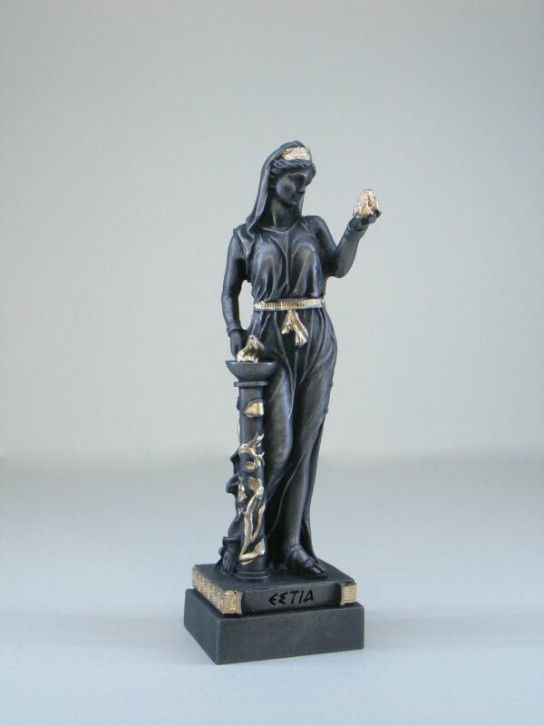 The statue of Hestia standing close to fire in Patina Black color